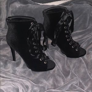 Black, lace up booties.